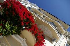 West Coast House. San Francisco house with bougainvillia flower Stock Photo