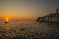 Rovinj, City on the westcoast of Istria, Croatia. The west coast of Istria, City of Rovinj. Croatia, Europe. Sunset royalty free stock photos