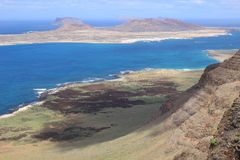 On the west coast of Lanzarote: View of the island La Graciosa. Stock Photo