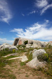 West Coast National Park. Lichen-encrusted boulders in the West Coast National Park, near Langebaan in the Western Cape, South Africa stock photos