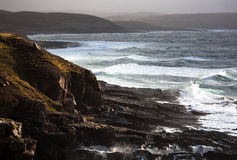 West Coast of Scotland. Looking down the west coast from Stoer Lighthouse with small crofts in the distance Stock Image