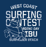 West Coast surfing contest. Funny print for kid t-shirt in custom colors, grunge effect in separate layer vector illustration