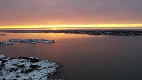 West coast Sweden in winter. Drone footage stock footage