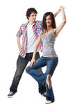 West Coast Swing. Social dance West Coast Swing. Demonstration of a spin pose stock photo