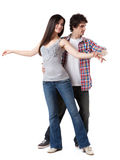 West Coast Swing. Social dance West Coast Swing. Demonstration of a free spin pose royalty free stock photo