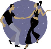 West Coast Swing. Cartoon couple dancing on a circular sparkly background, EPS 8 vector, no transparencies Stock Photo