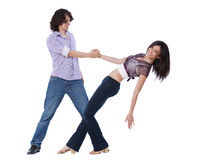 West Coast Swing Dance. Social dance West Coast Swing. Demonstration of a leverage pose Royalty Free Stock Photos