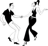 West Coast Swing dancers clip art. Black vector outline of a couple, dancing. No white fill, will look the same on any color background Stock Photos
