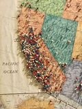 West Coast U.S. Map Pinned. A map aimed at western United States showing Californina, Nevada, Oregon, Idaho, Arizona and the Pacific Ocean with stick-pins placed royalty free stock images