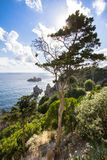 West coastline of Corfu, Greece. West coastline of Corfu island near Paleokastritsa bay, Greece royalty free stock image