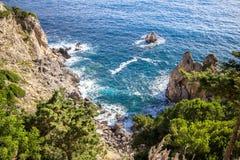 West coastline of Corfu, Greece. West coastline of Corfu island near Paleokastritsa bay, Greece stock photos