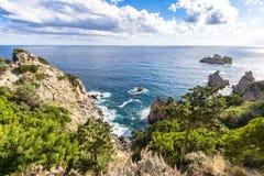 West coastline of Corfu, Greece. West coastline of Corfu island near Paleokastritsa bay, Greece stock images