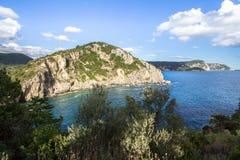 West coastline of Corfu, Greece. West coastline of Corfu island near Paleokastritsa bay, Greece royalty free stock photo