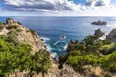 West coastline of Corfu, Greece. West coastline of Corfu island near Paleokastritsa bay, Greece royalty free stock photos