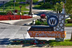 West Concourse sign at International Drive area. Orlando, Florida. January 12, 2019. West Concourse sign at International Drive area royalty free stock image