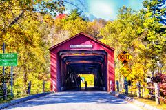 West Cornwall covered bridge autumn. The iconic west cornwall covered bridge spanning the Housatonic River in sharon Connecticut during a new england autumn stock photography
