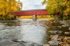 West Cornwall Covered Bridge, Connecticut stock images