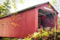 West Cornwall Covered Bridge New England. The iconic and historic cornwall covered bridge over the houstonic river in West Cornwall / sharon, connecticut on an stock photos