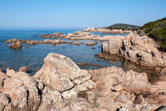 West Corsica wild coastal landscape with stones Royalty Free Stock Photos