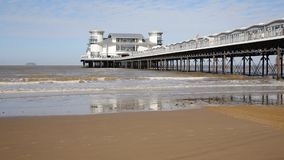 The West Country holiday resort of Weston-super-Mare last weekend of summer holidays stock video footage
