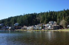 West Cultus Lake. A west side view of the homes and docks at Cultus Lake Royalty Free Stock Photo