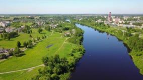 West-Dvina-Fluss nahe dem DSC der Stadt von Vitebsk stock footage