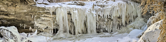 West Elyria Falls In Winter Pano Stock Photos
