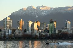 West End Condos and Mountains, Vancouver Royalty Free Stock Image