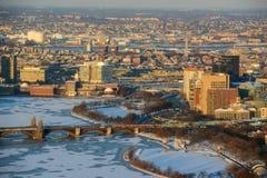 West End do centro no inverno, Massachusetts de Boston, EUA Fotos de Stock
