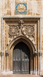 West entrance door of Church of Saint Mary the Great. Cambridge, Royalty Free Stock Photo