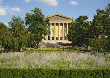 West entrance to Philadelphia Museum of Art with flower gardens Stock Images
