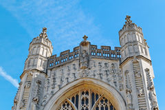 The west facade of Bath Abbey. The Abbey Church of Saint Peter and Saint Paul in Bath, Britain stock image
