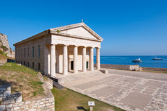 The west facade of the Church of St. George at the Old Fortress on the Corfu island, Greece. Royalty Free Stock Images