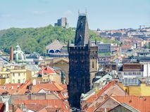Gothic Powder Tower from the Old Town City Hall, Prague. West facade of the gothic Powder Tower in Prague. View from the Old Town City Hall to the east stock image