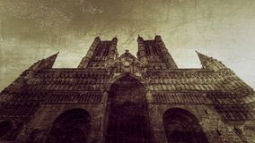 West Facade of Lincoln Cathedral Fine Art C. Double Exposure, Vintage Style Black and White Split Toning Horizontal Photography Royalty Free Stock Photography