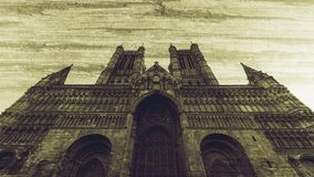 West Facade of Lincoln Cathedral Fine Art D. Double Exposure, Vintage Style Black and White Split Toning Horizontal Photography Stock Photo