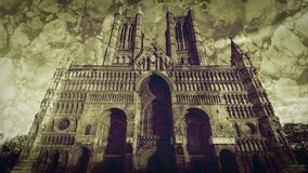 West Facade of Lincoln Cathedral Fine Art A. Double Exposure, Blended with Stone Texture Black and White Split Toning Royalty Free Stock Image