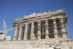 West Facade of Parthenon during restoration works. Construction began in 447 BC when the Athenian Empire was at the peak of its power. It was completed in 438 BC stock image
