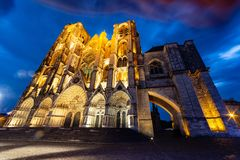 Saint-Etienne Cathedral in Bourges at dusk royalty free stock photo