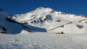 West face of mount shasta in July stock image