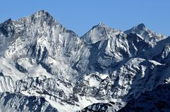 West face of Weisshorn and Obergabelhorn. The climbing classics of the Weisshorn and Ober Gabelhorn in the Swiss Alps, seen from the West royalty free stock photo