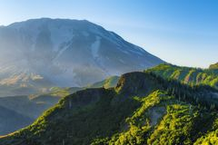 Morning Light on Mt. St. Helens. West flank of Mt. St. Helens a glow with early morning light stock photography