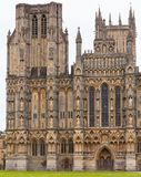 Wells Cathedral facade Somerset South West England UK. West front of anglican Wells Cathedral Cathedral Church of Saint Andrew, Somerset, South West England, UK royalty free stock photos