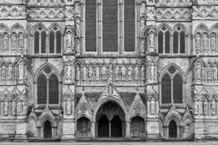 West front view of Salisbury Cathedral. Salisbury, Wiltshire, UK. Cathedral Church of the Blessed Virgin Mary, is an anglican cathedral in Salisbury, England stock photos