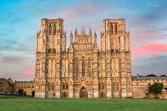 West front of Wells Cathedral at sunset