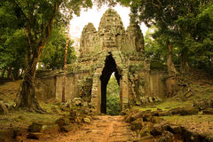 West Gate. To Angkor Thom, Cambodia Royalty Free Stock Photography