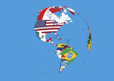 West hemisphere North South America world globe flags map. West hemisphere South America world globe map colored with national flag included countries names Stock Image