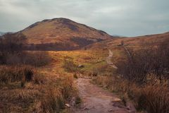 The West highland Way leading to Connic Hill stock images
