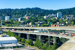 West Hills View. In Portland, Oregon with stopped traffic on I-405 Royalty Free Stock Photo