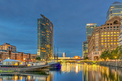 West India Quay with historical warehouse, boats and modren buil Royalty Free Stock Photography